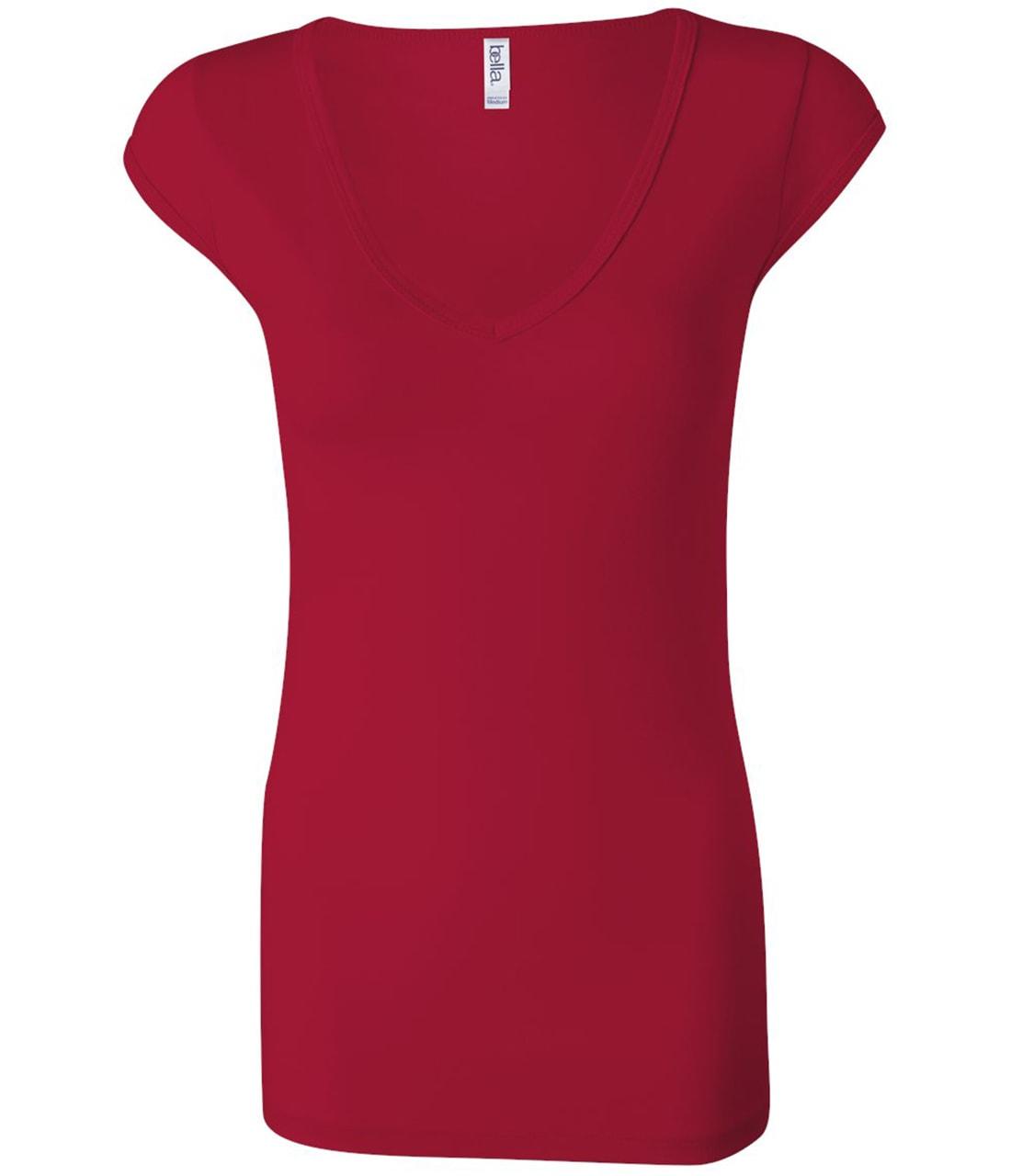 Picture of Bella Canvas Sheer Rib Cap Sleeve Deep V-Neck T-Shirt
