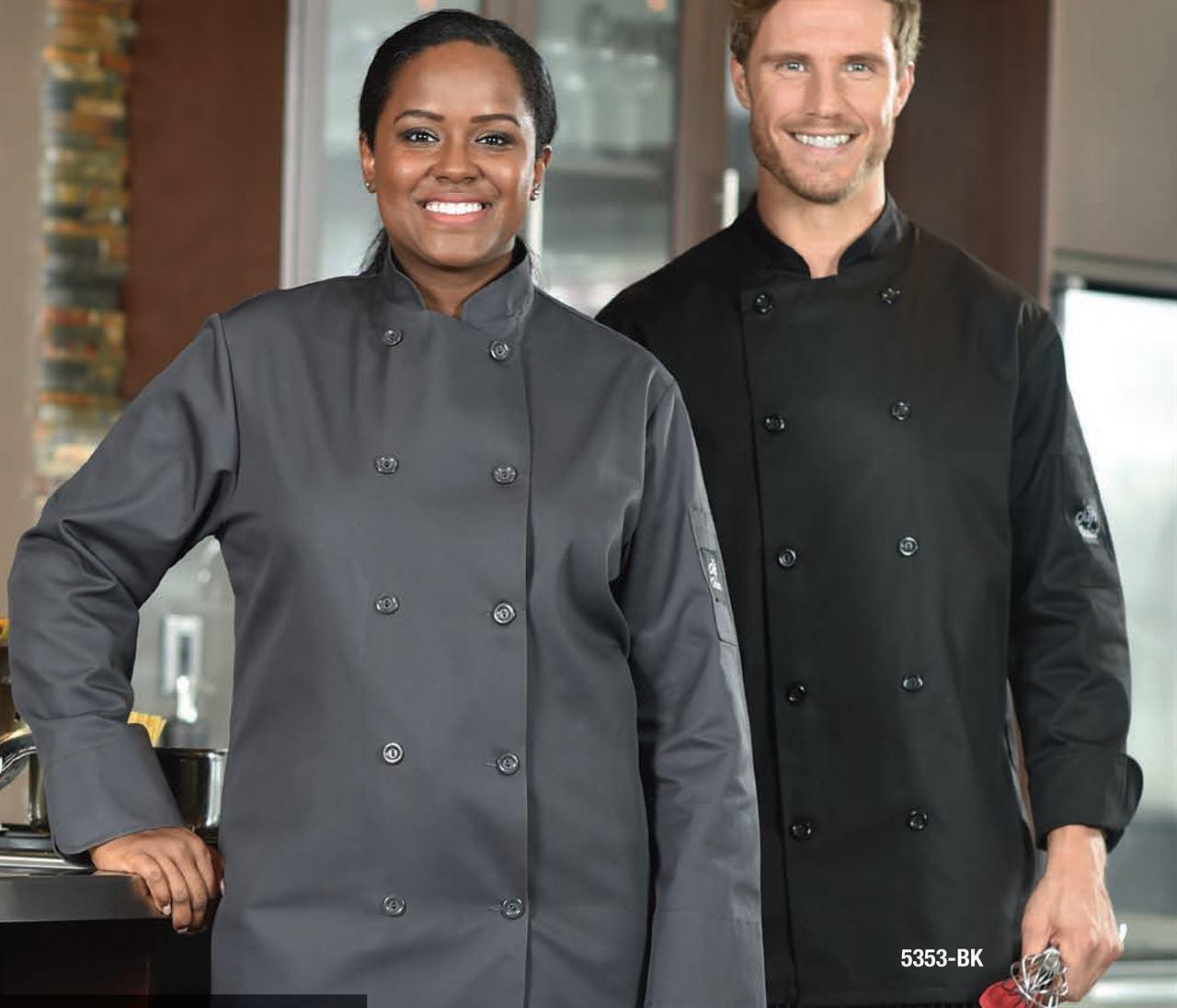 Picture of Premium Uniforms Short Sleeve Plastic Buttons Coloured Chef Coat